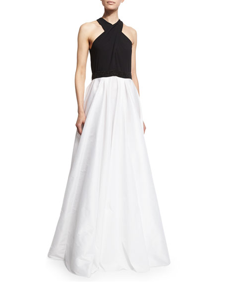 Crisscross-Halter Colorblock Gown, Black/Ivory