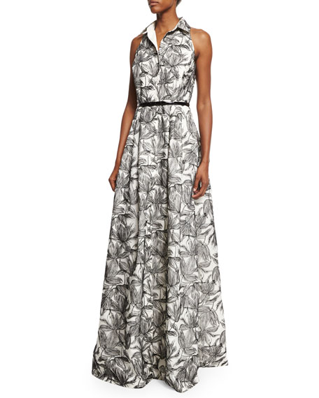 Sleeveless Printed Shirtdress Gown, Ivory/Black