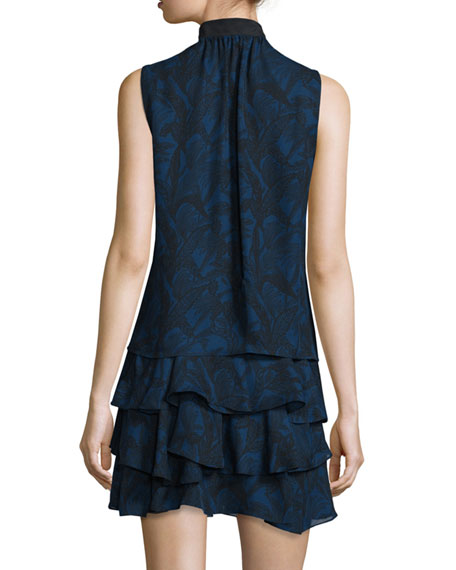 Sleeveless Printed Silk Tiered Mini Dress, Indigo