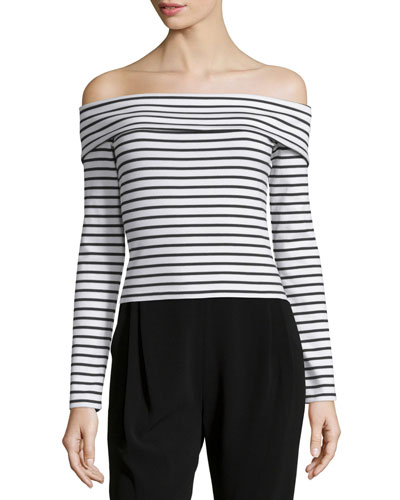 Long-Sleeve Striped Off-the-Shoulder Top, Soft White