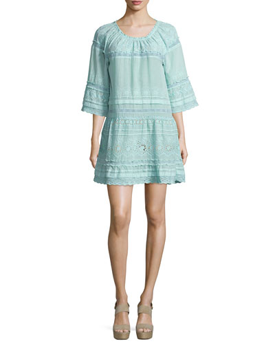 Junomia Embroidered Cotton Dress, Blue Pattern