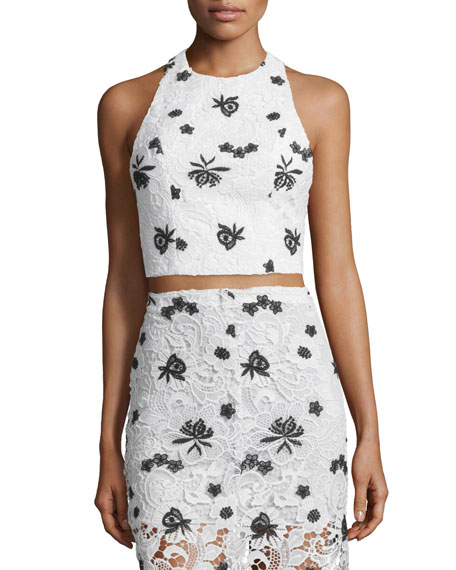 Tru Lace Racerback Crop Top, White/Black