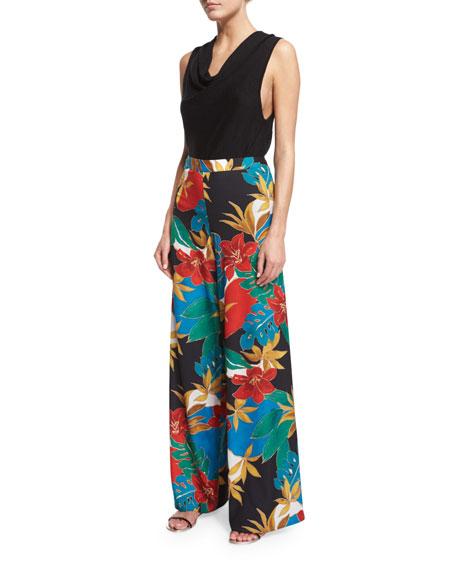 Elinor Floral Wide-Leg Pants, Multicolor