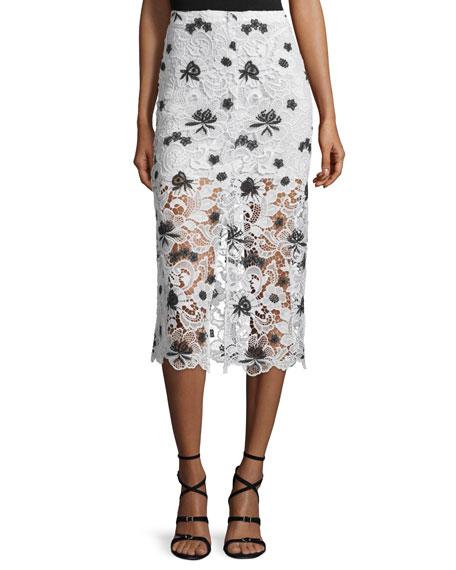 Ophelia Lace Midi Skirt, White/Black