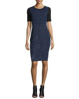 Emily Colorblock Combo Sheath Dress, Blue Navy
