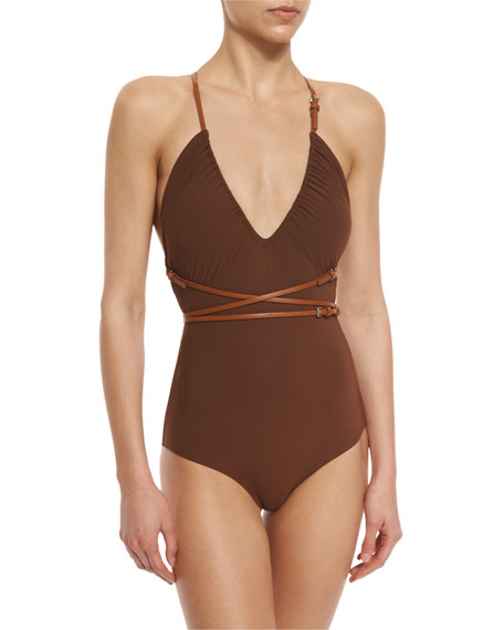 Belted Wrap One-Piece Swimsuit