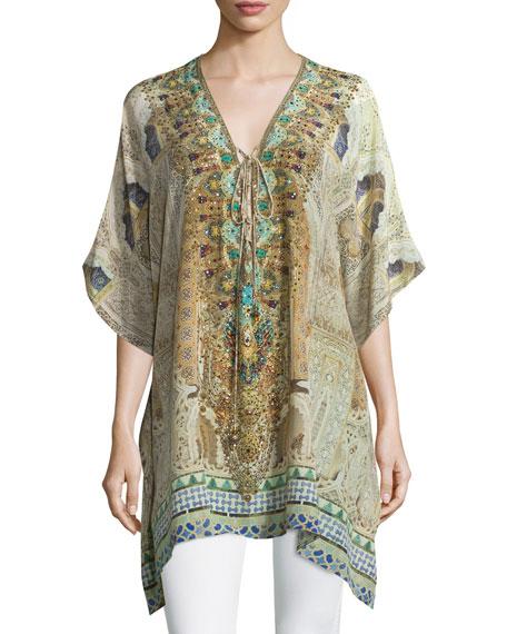 Lace-Up Short Caftan Dress, Granada Dream