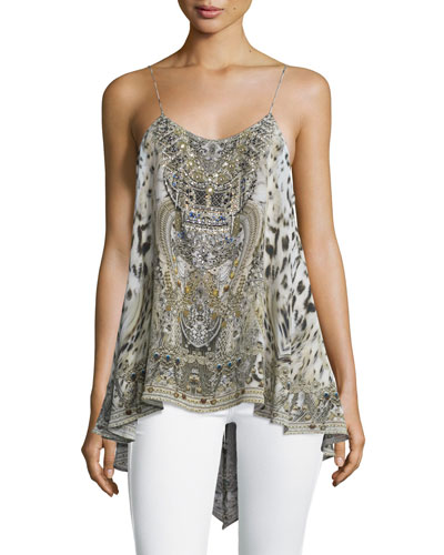 Sleeveless Low-Back Embellished Top, Espiritu