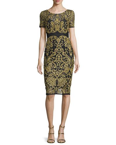 Short-Sleeve Embroidered Sheath Dress, Black