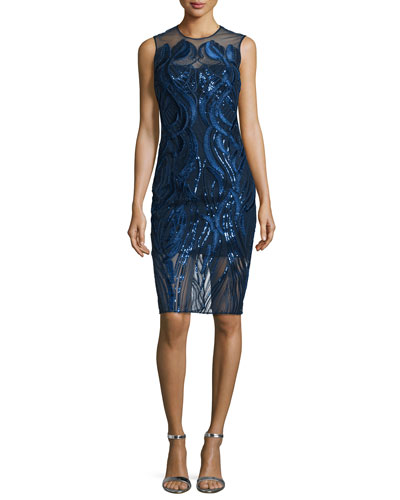 Sleeveless Sequined Cocktail Dress, Navy