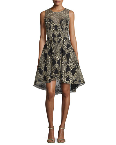 Embroidered High-Low Cocktail Dress, Black