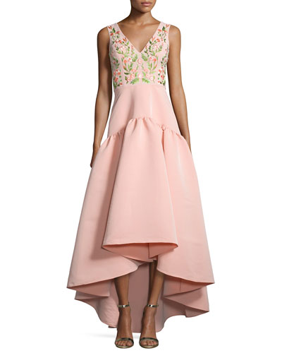 Sleeveless Floral-Embroidered High-Low Dress, Blush