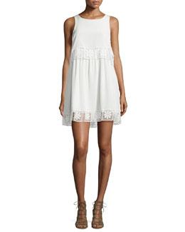 Callei Floral Crochet-Trim A-Line Dress, Ivory/Ivory