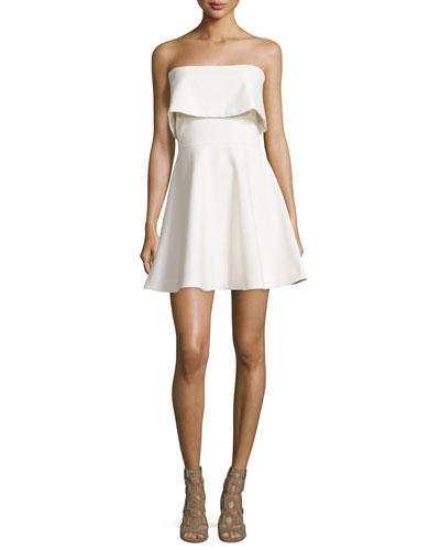 Melidna Strapless Popover Dress, Ivory