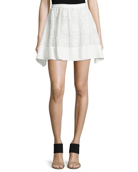 Elizabeth and James Bianca Floral-Macrame Skirt, Ivory