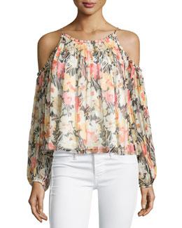 Maylin Cold-Shoulder Floral-Print Blouse, Multi Colors