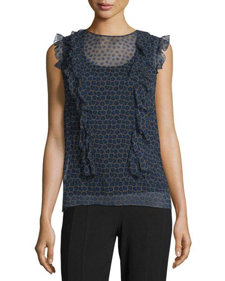 a61af2b069a94c DKNY Minny Cap-Sleeve Printed Silk Chiffon Blouse   Evie Fluid Crepe ...