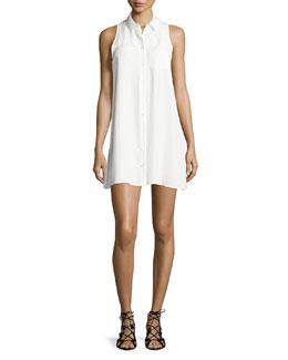 Mina Sleeveless Mini Shirtdress, Bright White