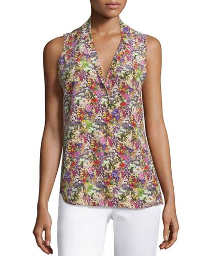 Adalyn Sleeveless Floral-Print Top, Happy Pink/ Multi