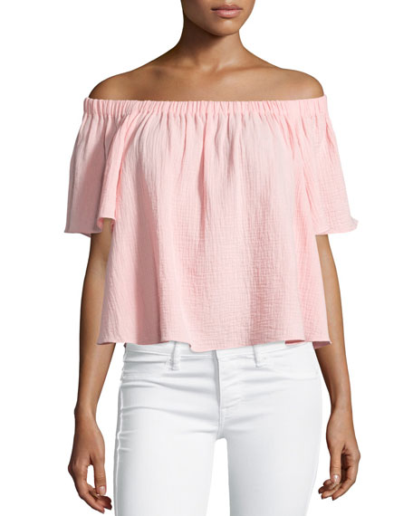 Boxy Off-the-Shoulder Cotton Top, Malibu Peach