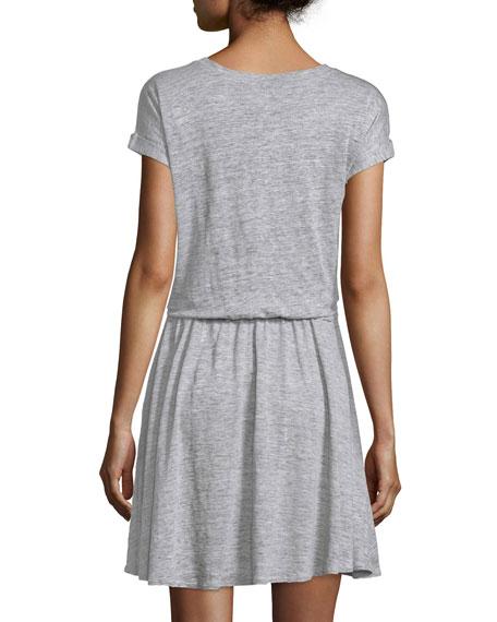 Cap-Sleeve Tie-Waist Jersey Dress, Gray Melange