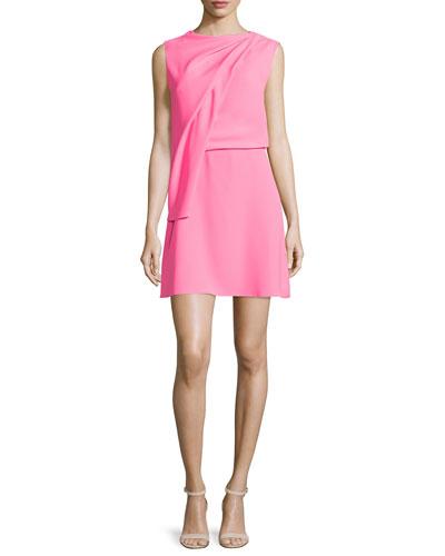Sleeveless Draped Mini Dress, Shocking Pink