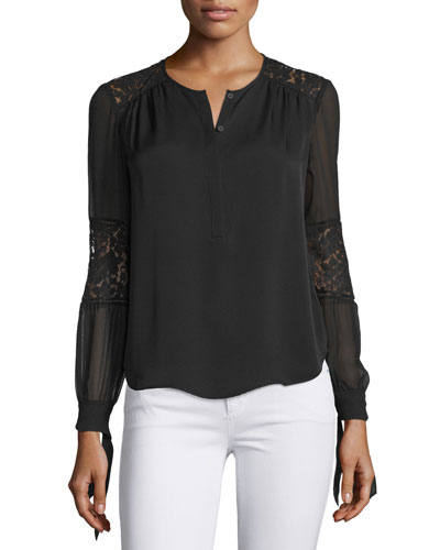 Long-Sleeve Silk & Lace Blouse, Black
