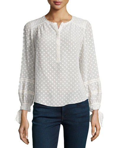 Long-Sleeve Boucle Top, Cream
