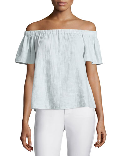 Off-the-Shoulder Gauze Top, Sweet Mint