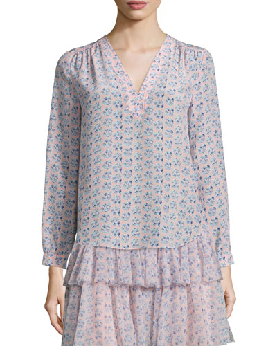 Amanda Floral Silk Long-Sleeve Blouse, Peach