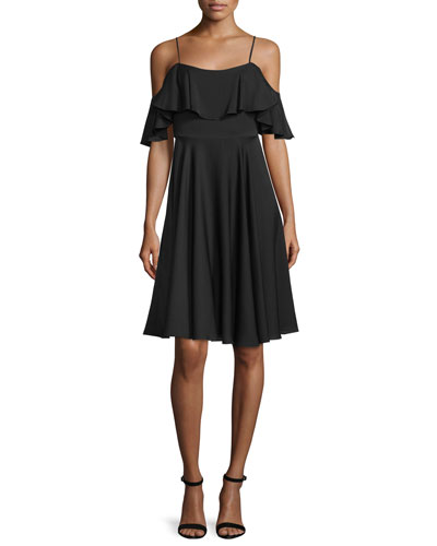 Emmaline Cold-Shoulder A-Line Dress, Black