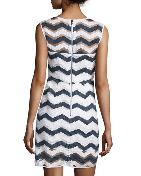 Sleeveless Chevron Shift Dress, Navy/White