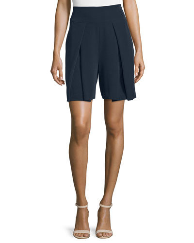 High-Waist Pleated-Front Shorts, Navy