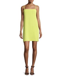Strappy Seamed Shift Dress, Citron