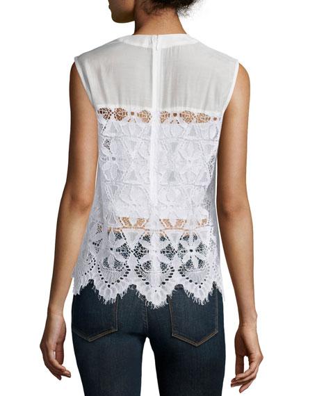 Lace Sleeveless Top, Blanc