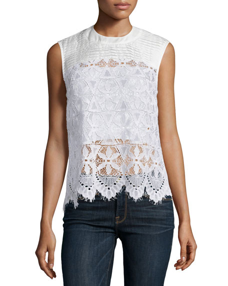 Lace Sleeveless Top, Blanc