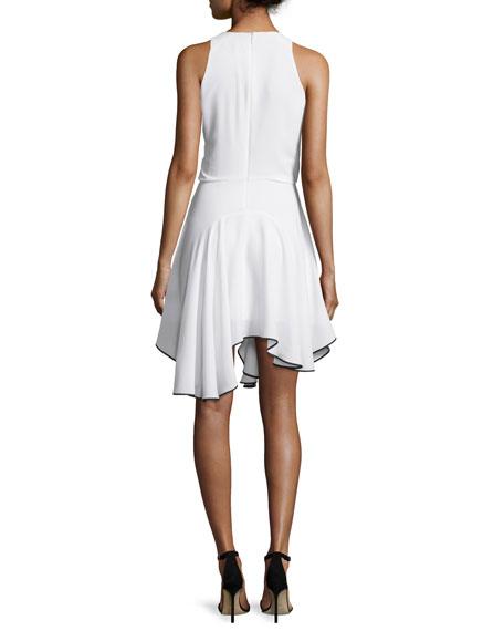 Sleeveless Contrast Flounce-Hem Dress, Chalk/Black