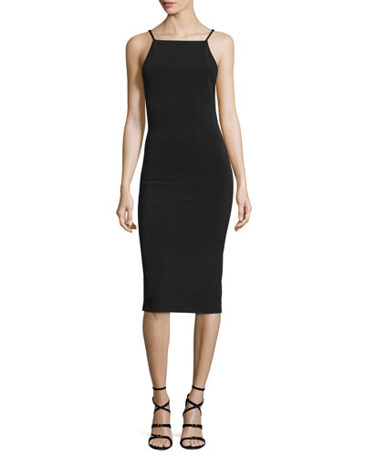 Kia Laced Midi Sheath Dress, Black
