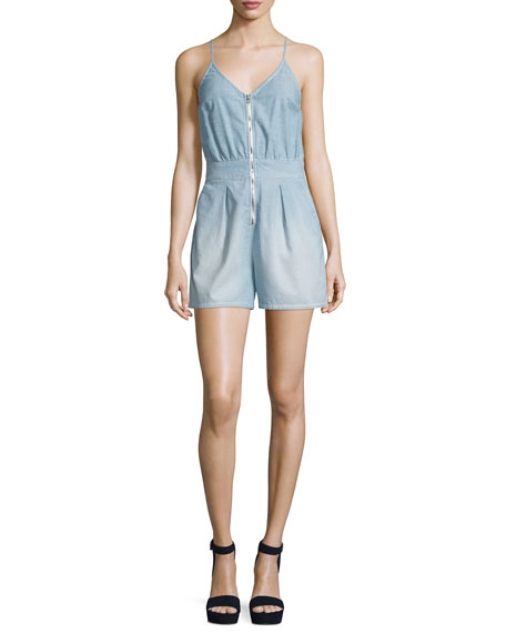 Sleeveless Zip-Front Romper, Stretch Chambray