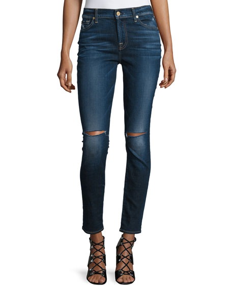 The Ankle Distressed Skinny Jeans, Blue