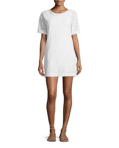 The Eyelet Cotton T-Shirt Dress, Dirty White Eyelet