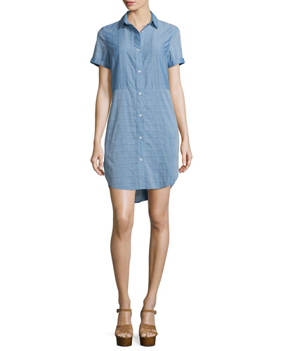 Le Short Sleeve Chambray Shirtdress, Blue