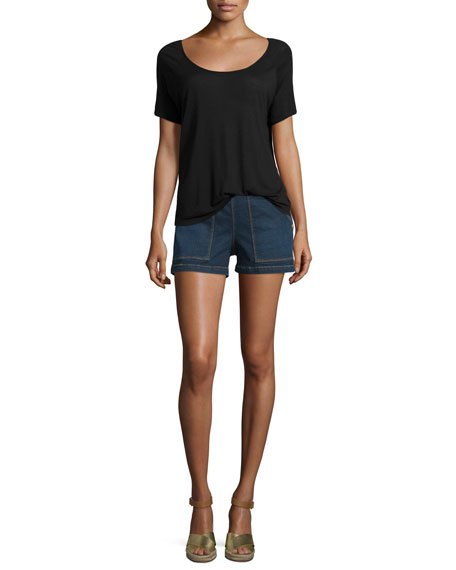Antibes Mid-Rise Side-Button Denim Shorts, Avalon
