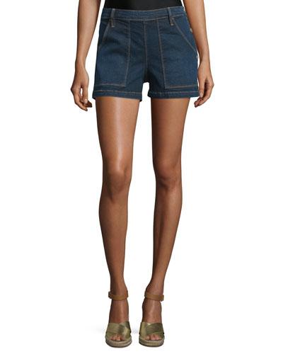Antibes Mid-Rise Side-Button Denim Shorts, Avalon