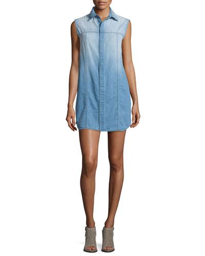 Jules Brooks Sleeveless Shirtdress, Blue