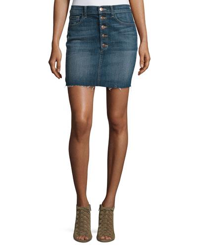 Rosalie Button-Front Denim Skirt, Isolated