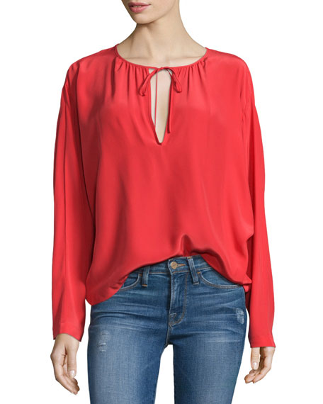 FRAME Raglan Split-Neck Blouse, Blood Orange