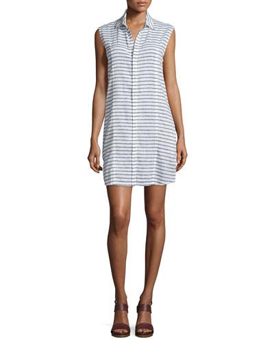 Jules Sleeveless Striped Shirtdress, Shale