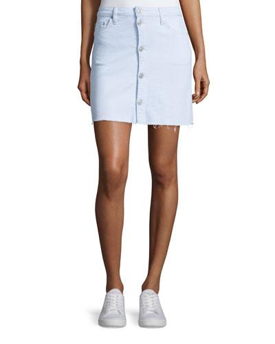 Cammy Button-Front Denim Skirt, Seaside