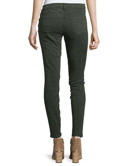 Zion Mid-Rise Skinny Ankle Jeans w/ Button Detail, Distressed Caledo